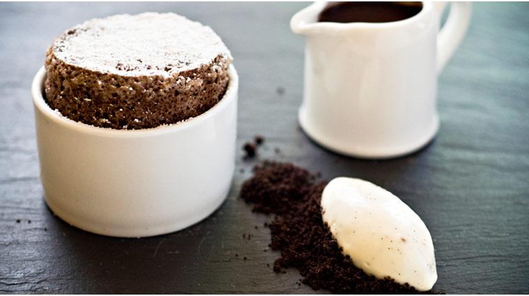 The Fearrington House Restaurant Hot Chocolate Souffle with Chocolate Sauce